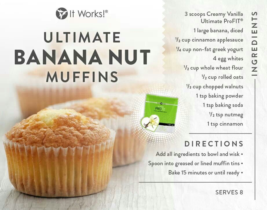 Banana Nut muffins made with protein from the Creamy Vanilla  ProFit!   2bhealthy.me