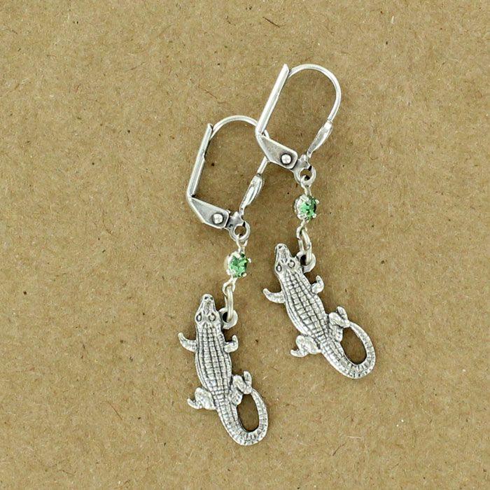 Sadie Green's rhinestone alligator earring