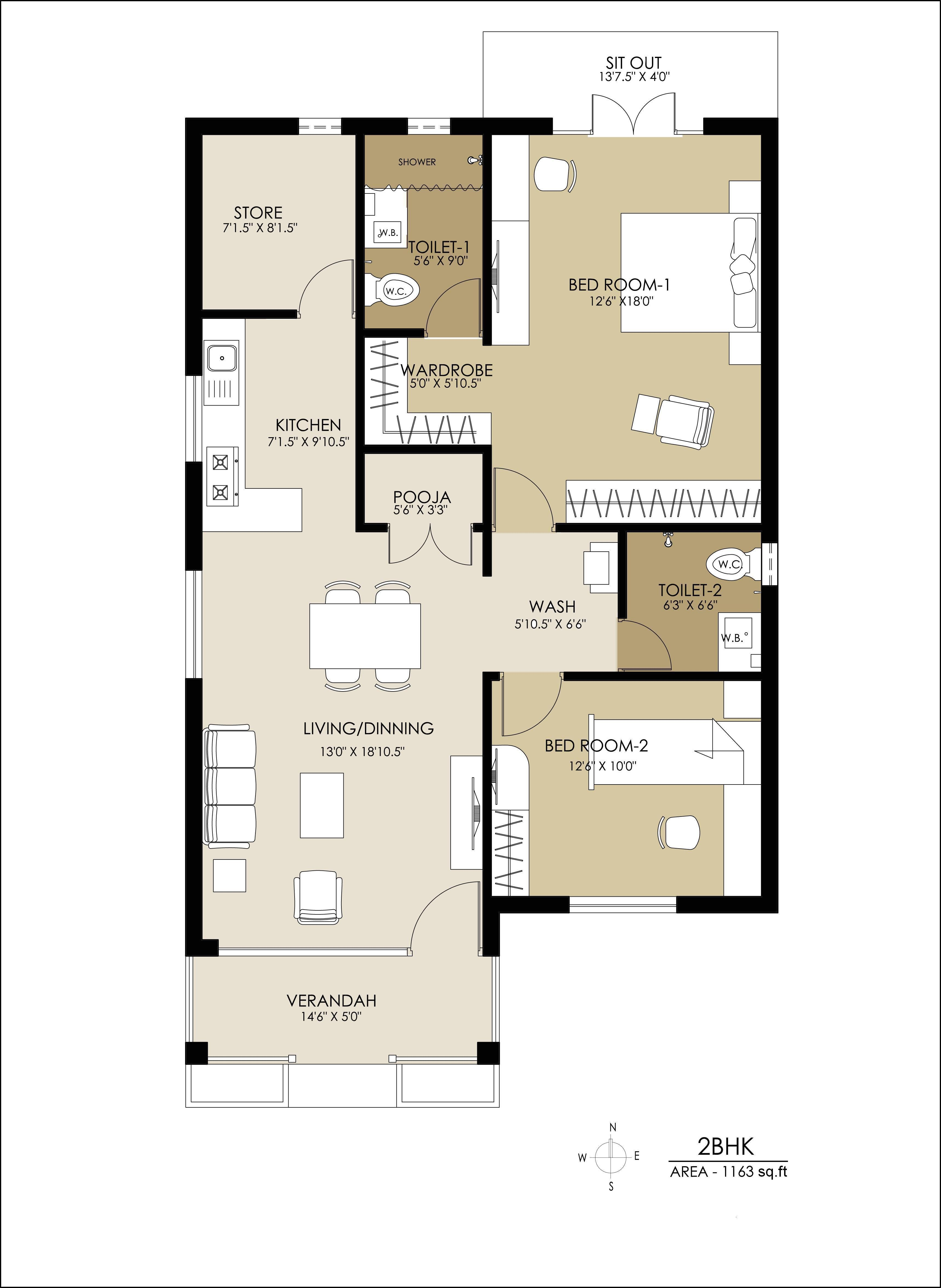 3 Bhk House Plans Indian Style House plans