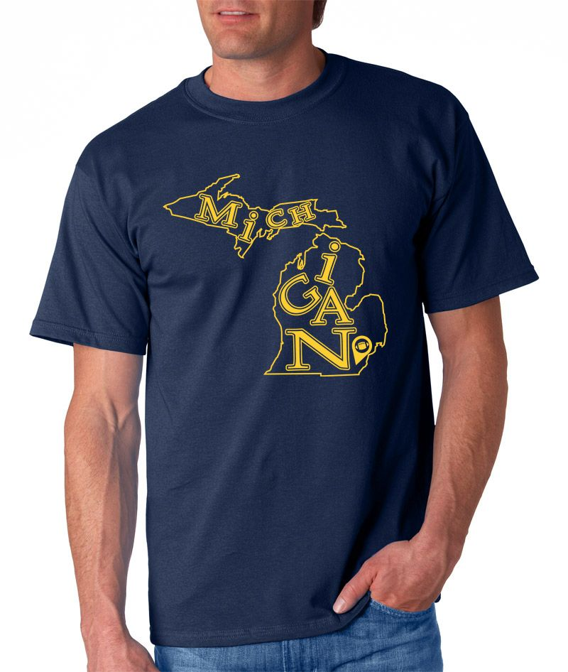 """Everyone knows Wolverines are fearsome predators that punch way above their weight on the gridiron, but who knew they were so stylish?  Our Michigan T-Shirt - Ann Arbor Edition, available in blue or yellow, is the ideal gear to wear to the next home game or a simple way to tell everyone, """"those who stay will be champions."""" Go Blue!"""