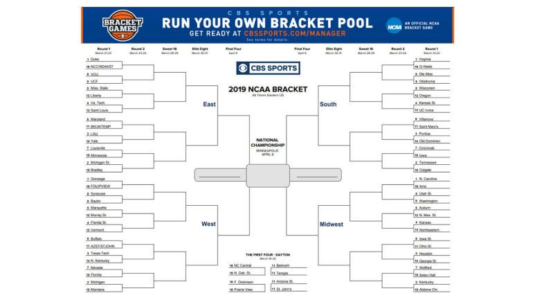 image about Printable March Madness Bracket known as NCAA bracket 2019: Printable March Insanity bracket