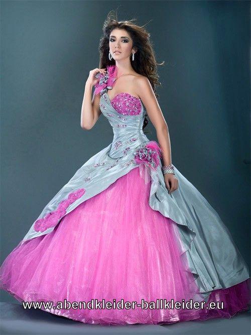One Shoulder Abendkleid Ballkleid in Pink Silber   Nähen+Hochzeit ...