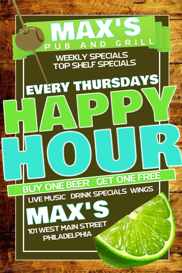 Green Bar Flyer Template Happy Hour  Ads For Print