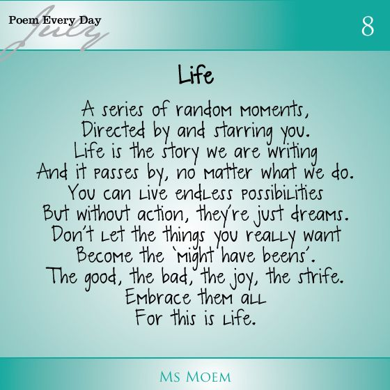 today's poem | Life poem by Ms Moem | Daily Poem Project ...