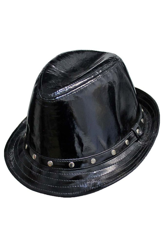 13530655c3982a Black Patent Leather Fedora Hat | Fierce Fedora Hats | Black patent ...