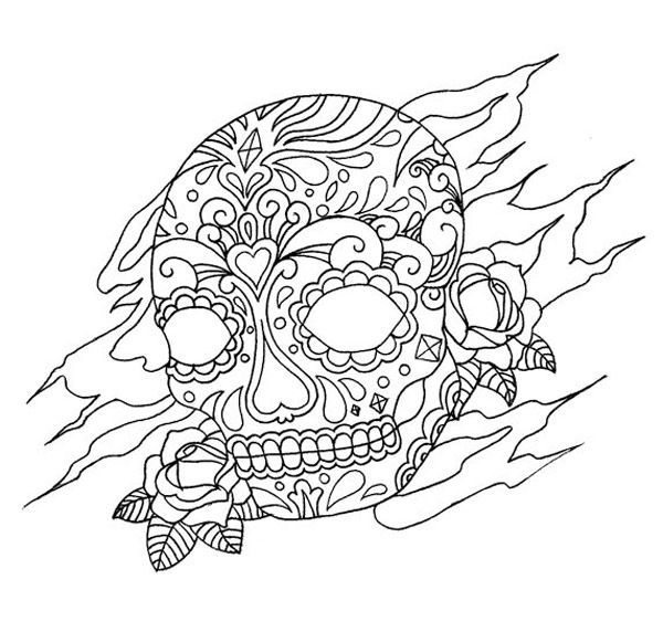 tattoo coloring pages coloring pages skull skull tattoo tattoo - Sugar Skull Tattoo Coloring Pages