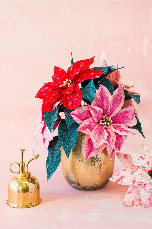 Paper Poinsettia Flowers Christmas Crafts Pinterest Poinsettia
