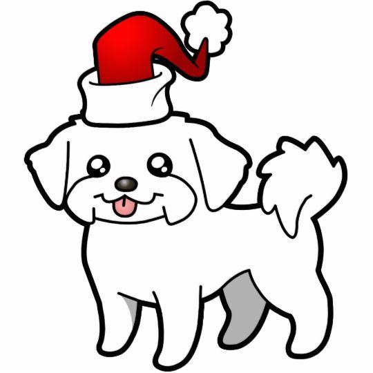 Christmas Maltese (puppy cut) Cutout