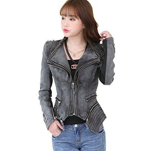 f4e4df092a93a Chouyatou Women s Fashion Studded Perfectly Shaping Faux Leather Biker  Jacket (Small