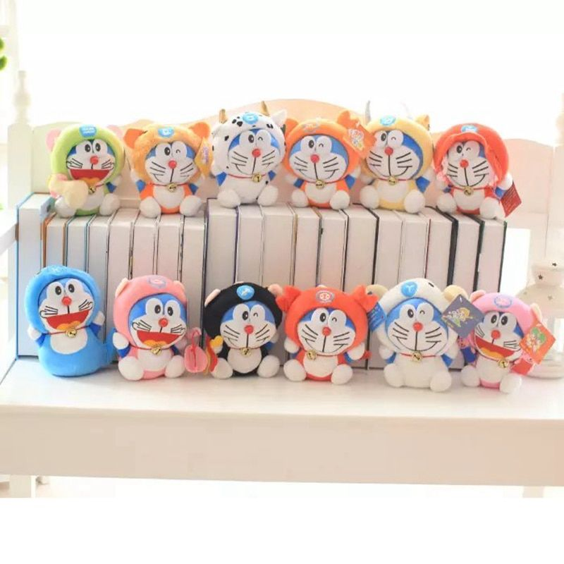 US $4.32 17% OFF|Cartoon Doraemon anime plush toy cat transformed 12 zodiac doll pillow Stuffed toys animals home decoration doll birthday gifts|Stuffed & Plush Animals|   - AliExpress