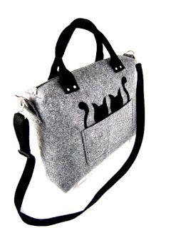 07cdb5985ba El yapımı kedi desenli keçe çanta gri - Çanta Modelleri | çanta ...