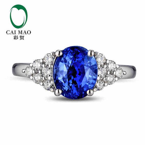 CaiMao 18KT/750 White Gold 2.12 ct Natural IF Blue Tanzanite AAA 0.38 ct Full Cut Diamond Engagement Gemstone Ring Jewelry