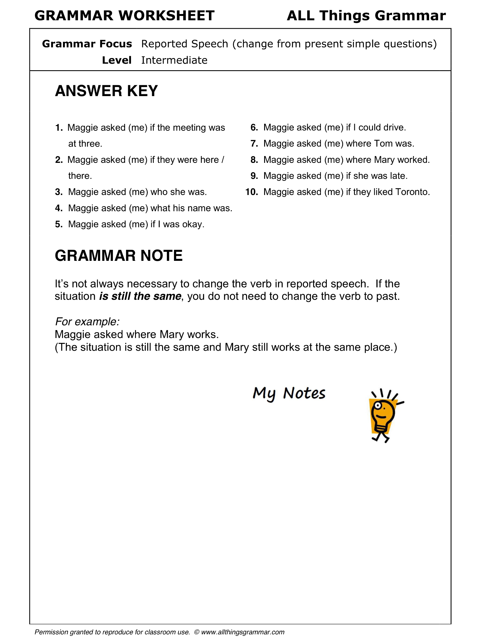 worksheet Worksheets On Connectors In English Grammar english grammar reported speech 2 from present simple questions httpwww
