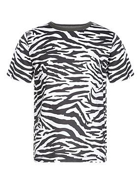 7210f9ffd4e1 animal print kid s tee groovy  ) - White Pure Cotton Zebra Print T-Shirt