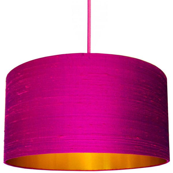 Love frankie brushed copper or gold silk lampshade in pink violet indian silk dupion lampshade in hot pink living room aloadofball Images