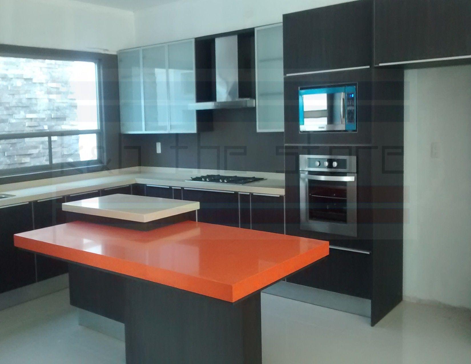 Cocina En Acabados Texturizados Gabineteria Superior En Cristal  # Muebles Texturizados