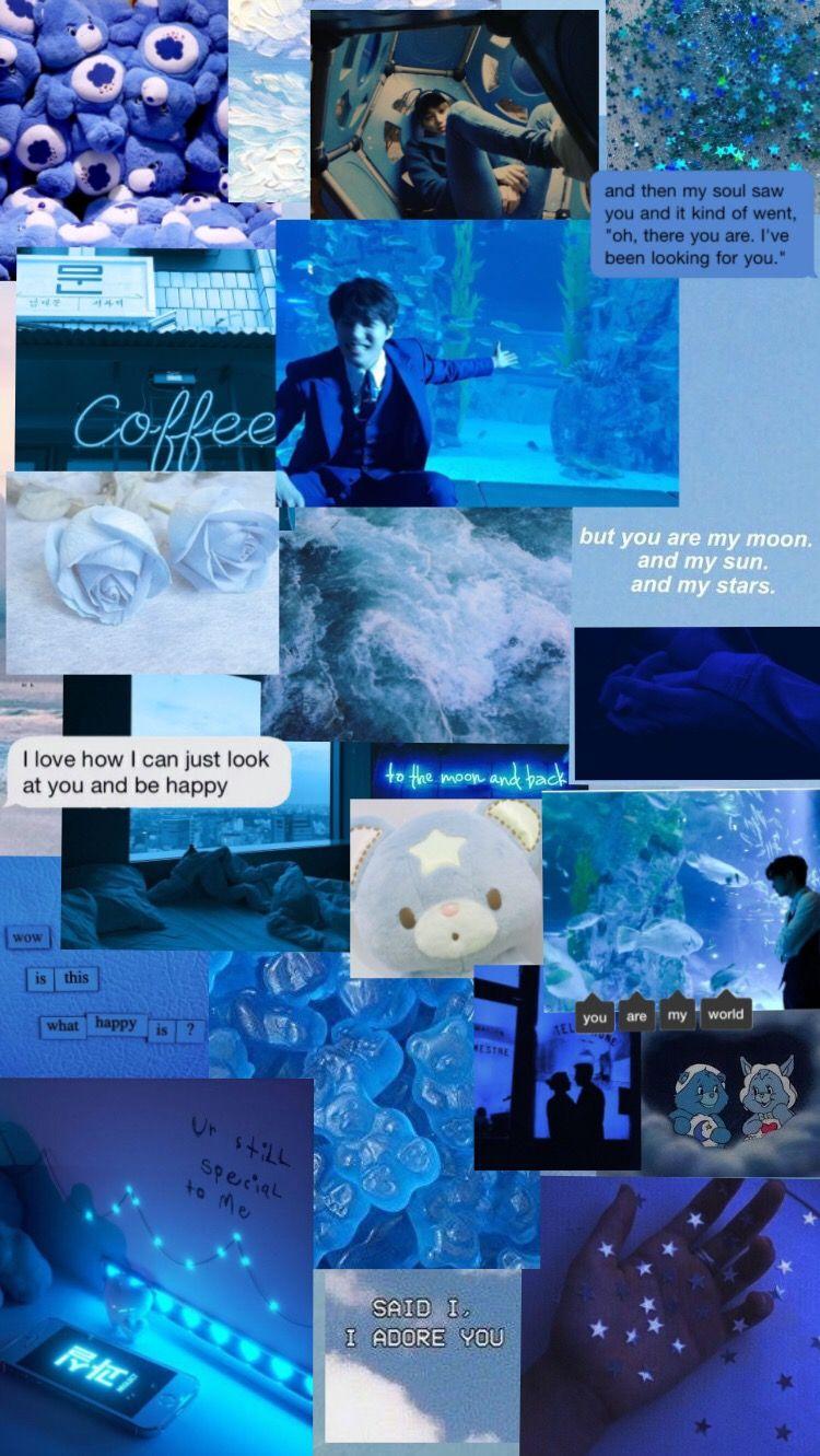 Inspiration Tumblr Aesthetic Wallpaper Lockscreen Exo Exokai Kimjongin Nini Bear Blue Dark Blue Aesthetic Grunge Dark Blue Wallpaper Blue Aesthetic