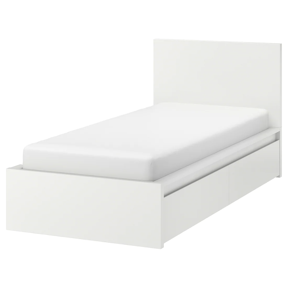 Malm Bettgestell Hoch Mit 2 Schubkasten Weiss Lonset Ikea Deutschland In 2020 High Bed Frame Bed Frame With Storage Malm Bed Frame