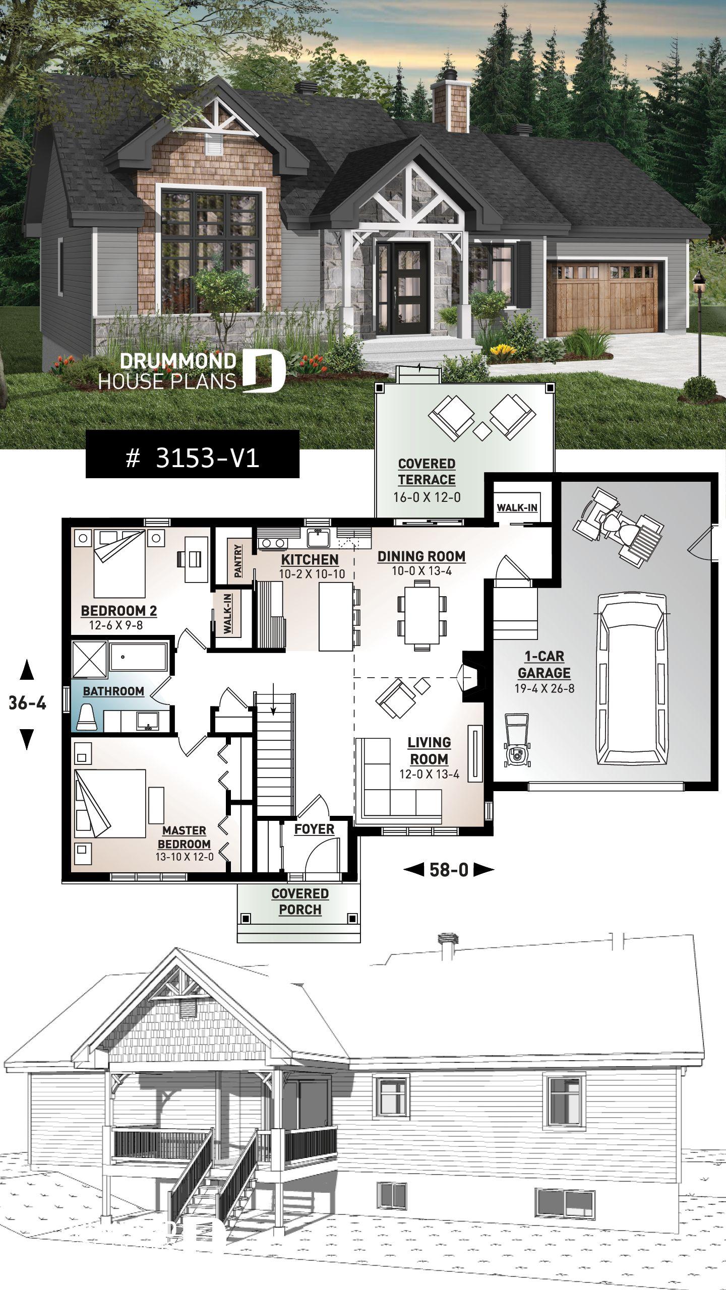 Decouvrez Le Plan 3153 V1 Barrington 2 Qui Vous Plaira Pour Ses 2 Chambres Et Son Style Nordique Small Bungalow Ranch House Plans Bungalow House Plans