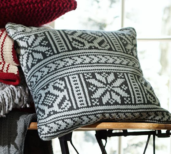 Martin Fair Isle Pillow Cover Pottery Barn In Red