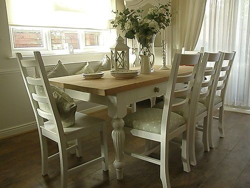 Beautiful shabby chic pine table and chairs and bench. Hand