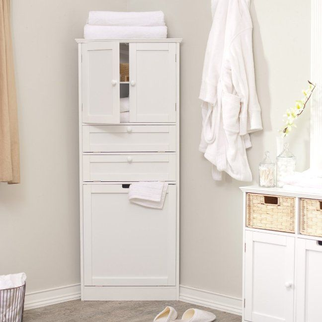 Corner Linen Cabinet Tower Bathroom