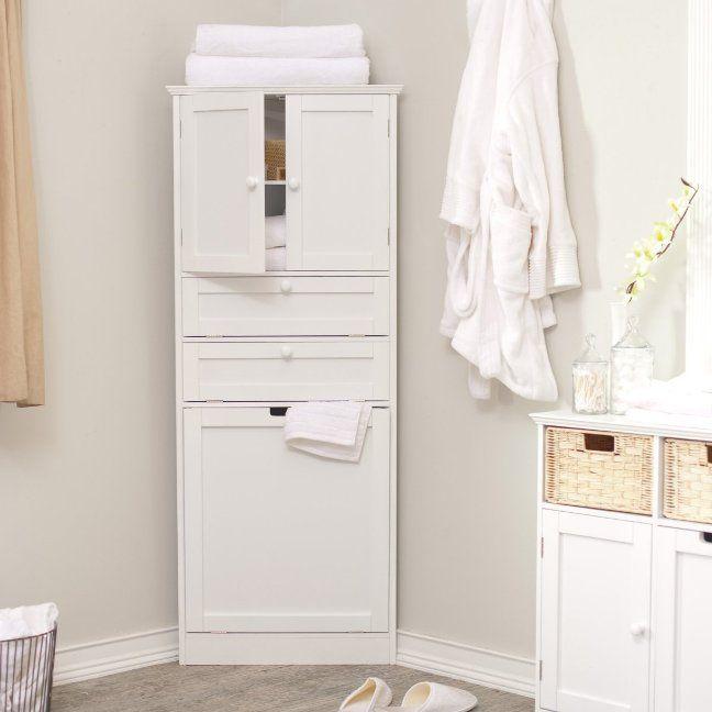 White Bathroom Linen Tower corner linen cabinet tower | bathroom likes | pinterest | corner