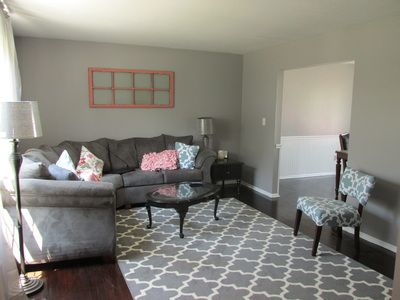 Blush And Batting Blog Gray Living Room Gray Couch Gray Rug Old Window Behr Cathedral Gray Dark Wood Floors Living Room Grey Cottage Paint Colors Room