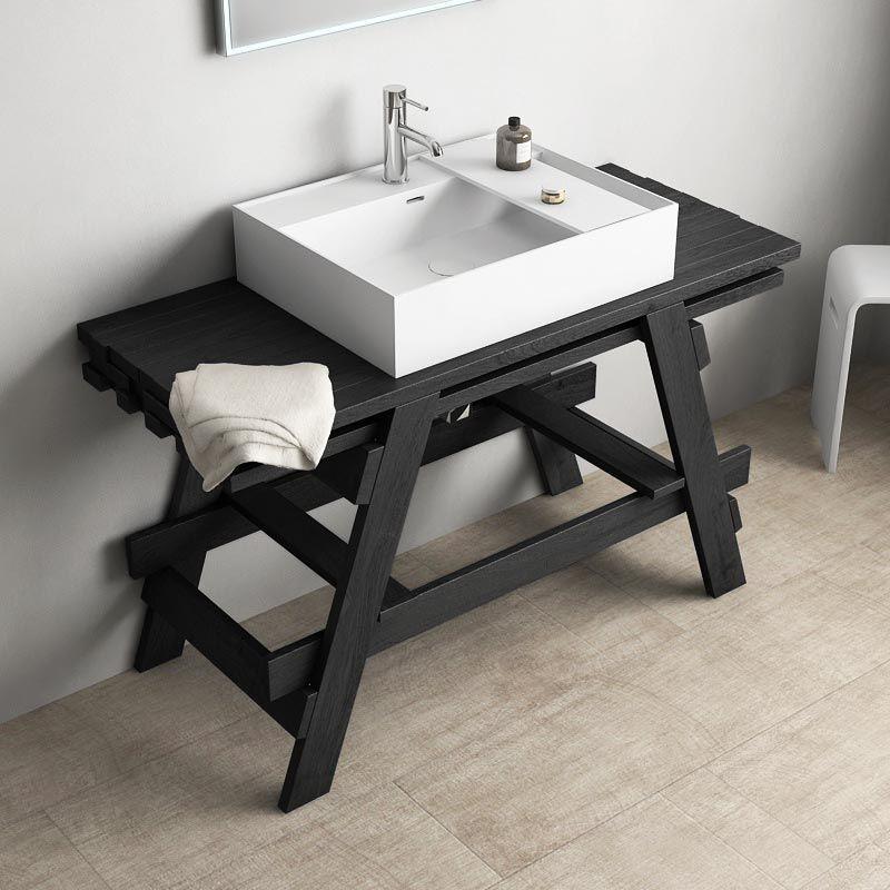 meuble salle de bain 120 cm, bois massif 3 coloris, avec vasque minérale