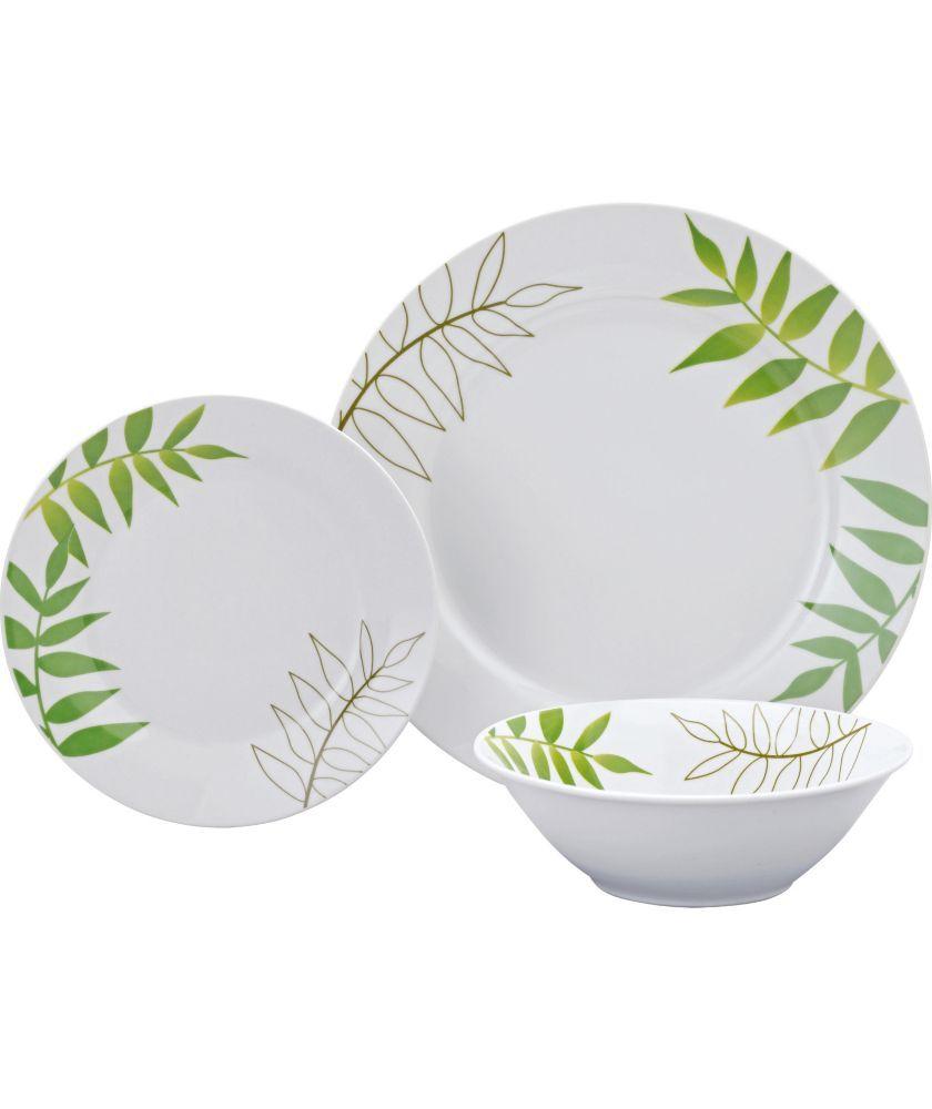 Buy Living 12 Piece Porcelain Green Leaf Dinner Set at Argoscouk