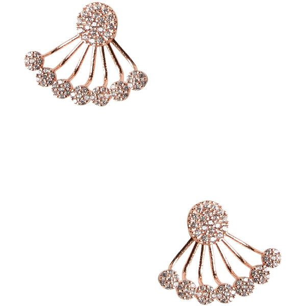 Mary Louise Designs CZ Fan Ear Jacket (€99) ❤ liked on Polyvore featuring jewelry, earrings, pink, cz jewelry, cz earrings, zirconia earrings, pink cubic zirconia earrings and rose jewelry