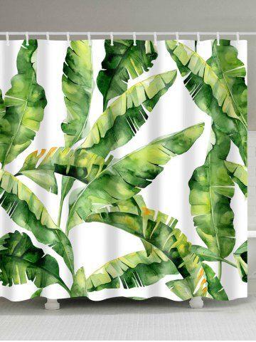 Banana Leaf Polyester Fabric Shower Curtain Banana Leaf Shower