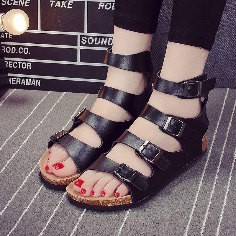 3b073e6730e551 Korea fashion street snap Rome shoes high-top flat cork sandals sexy female  summer Softwood slippers summer yards flat sandals