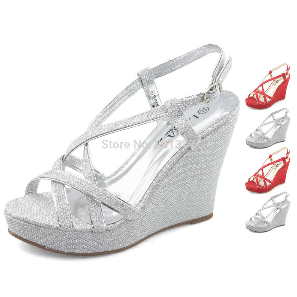 LARA's sparkly bling wedges sandals high platform heels sandle ...