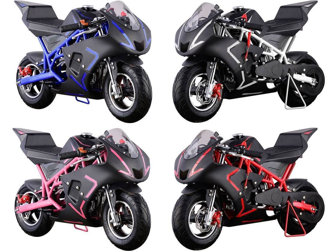 MotoTec Cali 40cc Gas Pocket Bike Ride on Motorcycle Age12