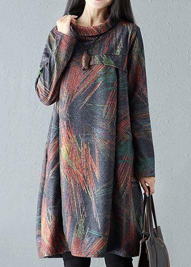 69b09119727  rotita.com -  unsigned High Neck Long Sleeve Printed Pocket Tunic Dress -