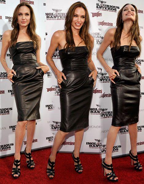 1681996506 angelina jolie michael kors black leather dress I LOVE this dress ...