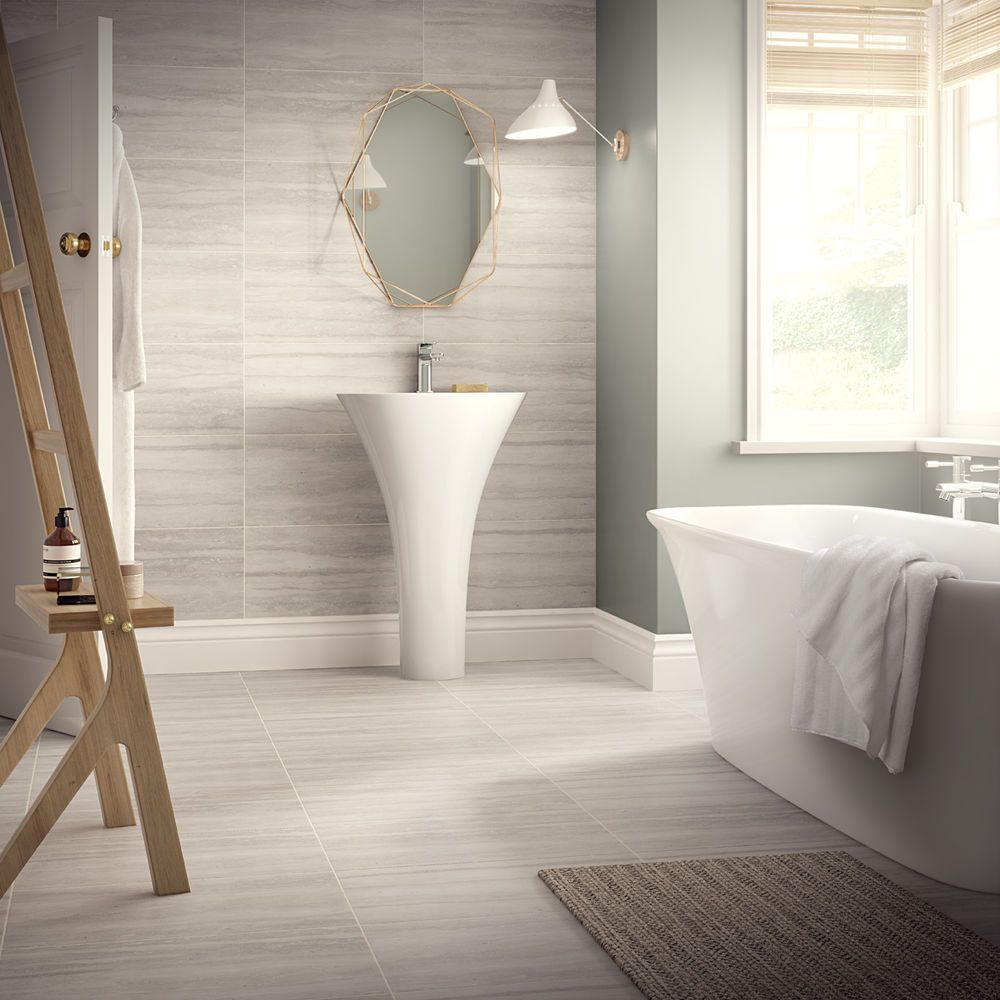 Grey Matt Porcelain Satin Bathroom En Suite 60x30 Tile Wall Floor