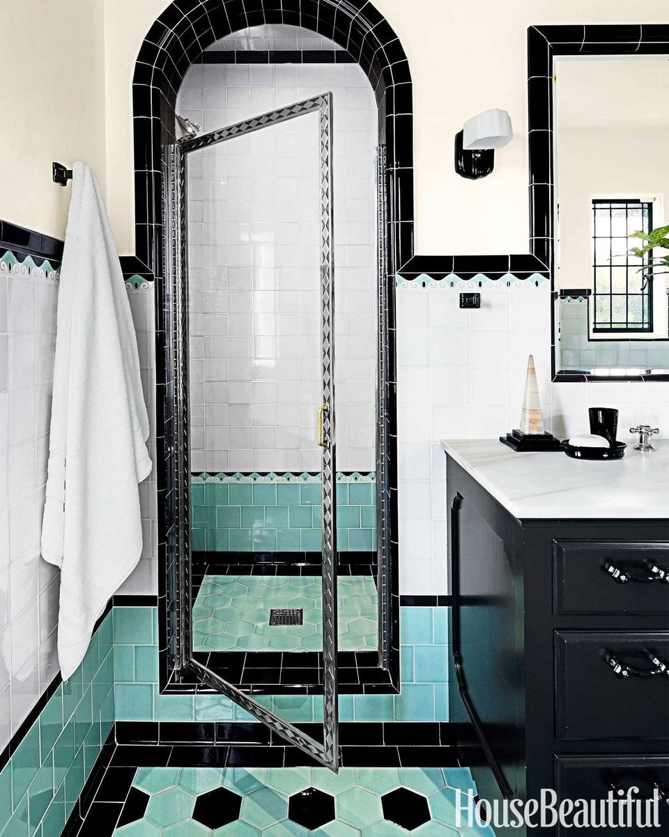 Two Bathrooms with Bold Tile | Vintage bathrooms, Powder room and Bath