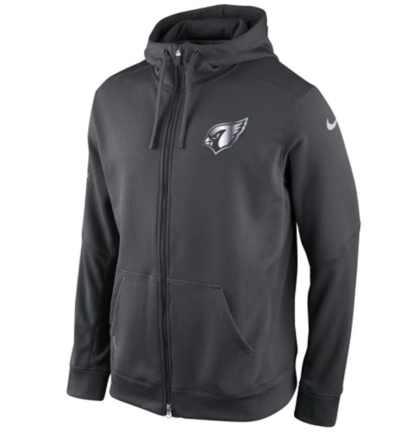 Mens Arizona Cardinals Nike Gray Quarter Zip Hot Jacket