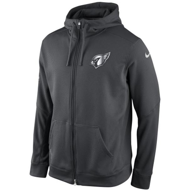 Mens Arizona Cardinals Nike Gray Quarter Zip Hot Jacket