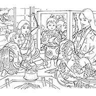 時代物日本画風大人の塗り絵教室 高齢者の方向け