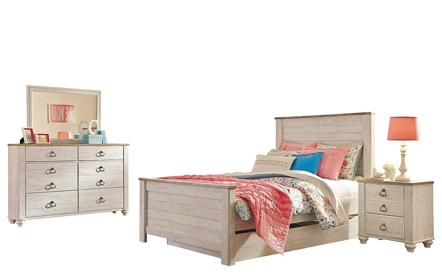 Ashley Willowton 4PC Twin Trundle Bedroom Set In White