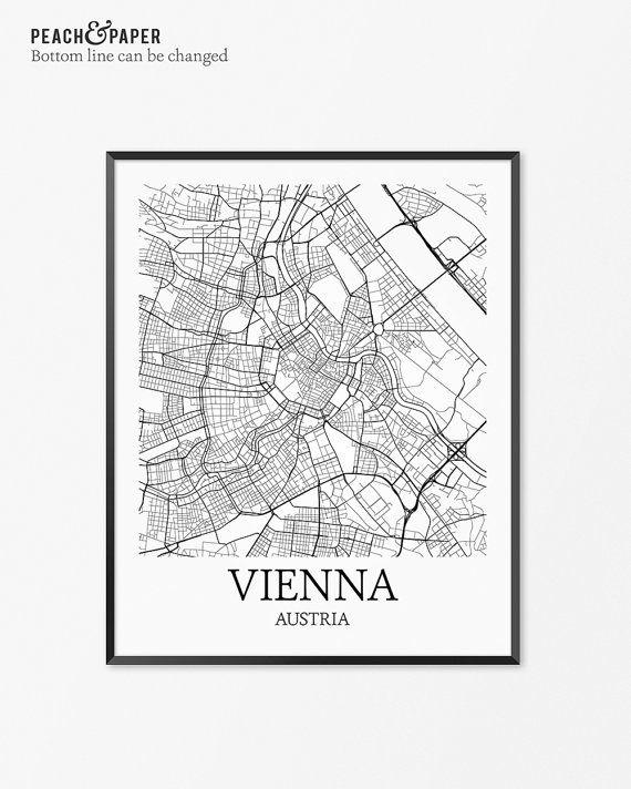 Vienna Karte Kunstdruck Wien Poster Anzeigen Von Vienna Decor Wien Stadtplan Kunst Geschenk Der Vienna Vienna Austria K Map Art Print Map Art City Map Art