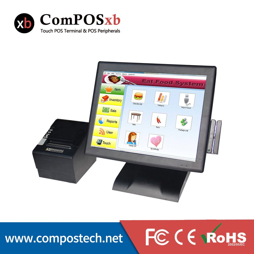 Hottest China Pos System Pos All In One 15 Resistive Touch Screen Waterproof Thermal Printer Thermal Printer Computer Peripherals Printer