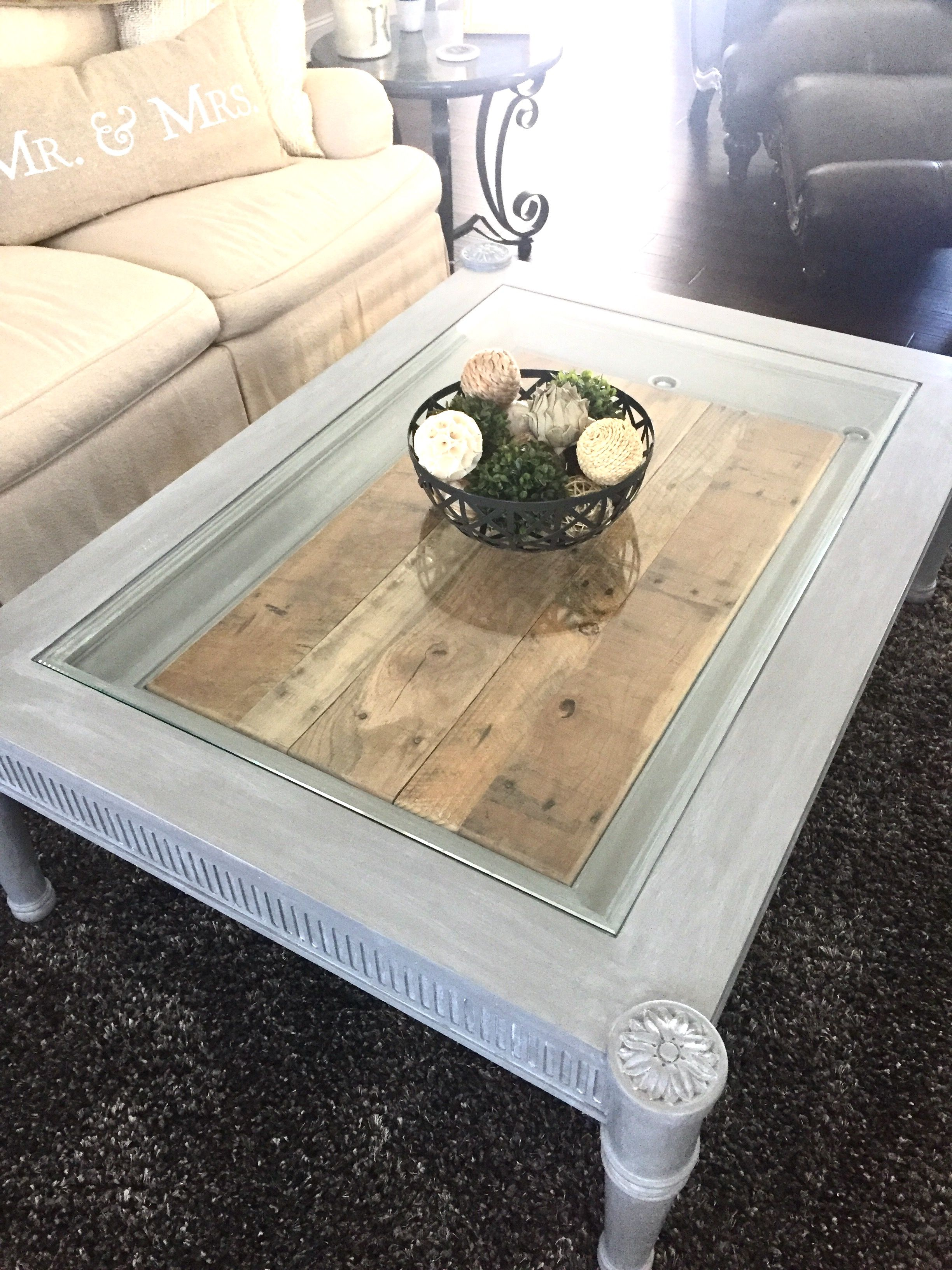 Repurposed Oak Shadow Box Coffee Table. Painted Gray With Valspar Furniture  Paint. Added Accent