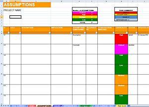 Raid Log Umptions Sheet Dashboard Template Project Management Entrepreneur