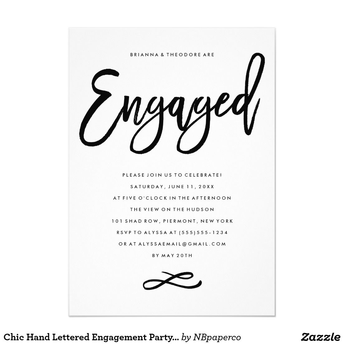 Chic Hand Lettered Engagement Party Invitation | Engagement party ...