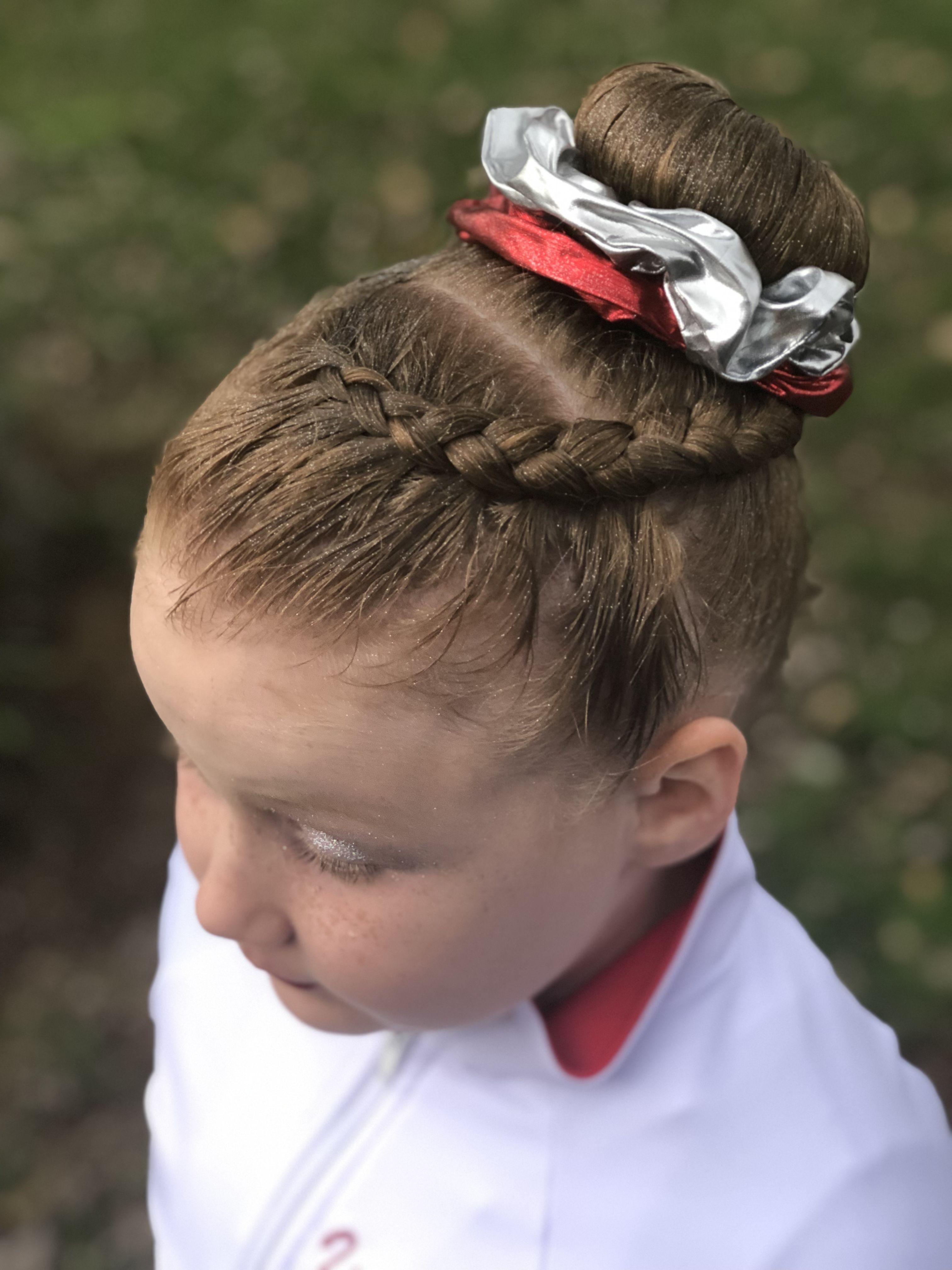Gymnastics Meet Hair Braid Into A Bun Competitive Gymnastics In 2020 Gymnastics Meet Hair Gymnastics Hair Competition Hair