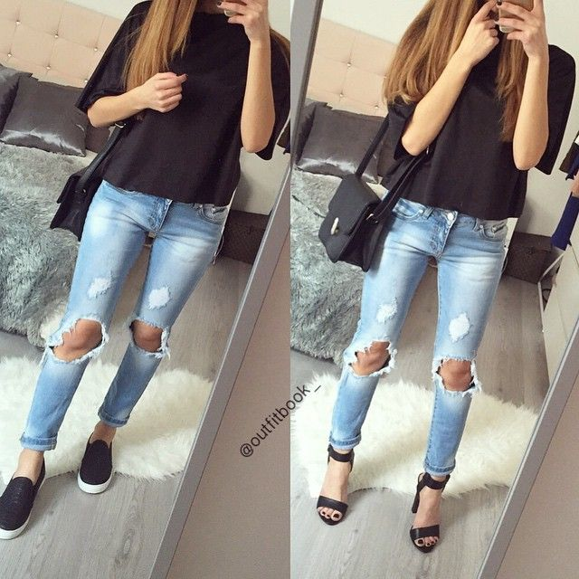 Slip on ou sandales à talon ? ⚫️ Look total www.outfitbook.fr  #Padgram